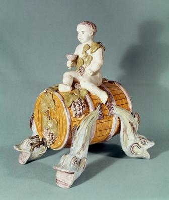 Wine fountain in the shape of Bacchus as a child, from the J. Hustin workshop in Bordeaux