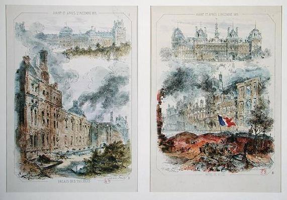 Views of the Tuileries Palace and the Hotel de Ville before and after the fires of 1871