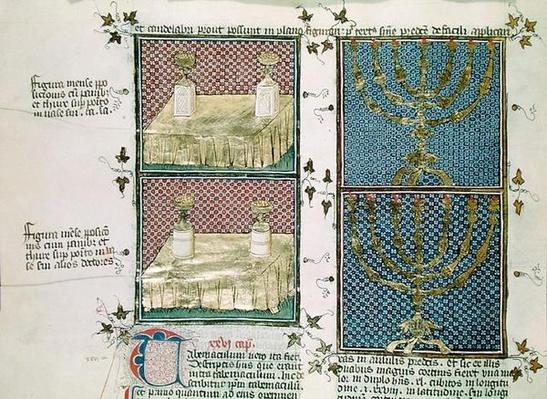 Ms 290 Tome 1 f.89v Table of offerings and the menorah, from 'Postilles sur la Bible' by Nicolas de Lyre