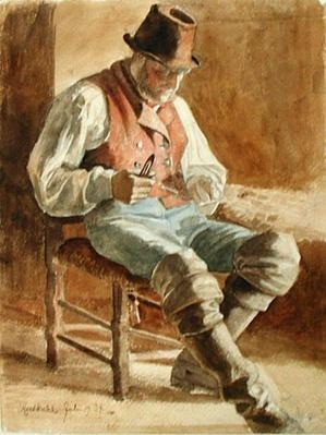 Fisherman Mending a Net, 1834