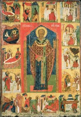 St. Nicholas of Moshajsk with scenes from his life