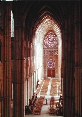 Interior view of the nave looking towards the west end