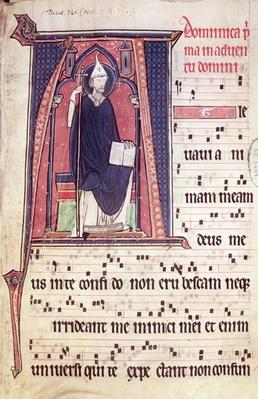 Ms 241 f.1 Historiated initial 'A' depicting St. Gregory, from the Antiphonal for the consecration of the Abbey Church of Vauclair, 1257