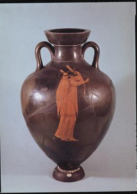 Attic red figure amphora depicting a musician playing a lyre