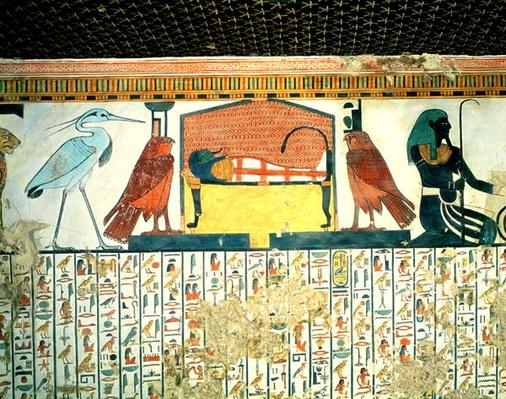 Mummy on a funeral bed with various divinities, from the Tomb of Nefertari, New kingdom