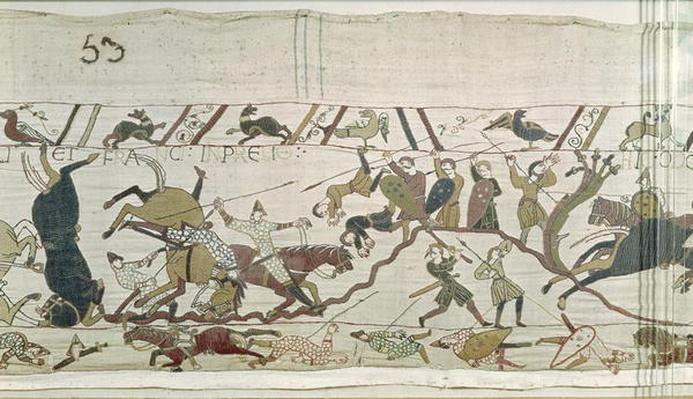 The English and French Fall Side by Side in Battle, from the Bayeux Tapestry