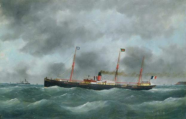 Cargo Steamship Flying the Flag of the Le Havre Peninsular Company