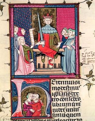 F.39r Conjugal Law, an adulterous wife appearing in court, from 'Justiniani in Fortiatum'