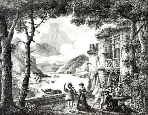 Stage set for Act III of 'Le Chateau de Loch-Leven' by Guilbert de Pixerecourt, for a performance at the Theatre de la Gaite, 3rd December 1822