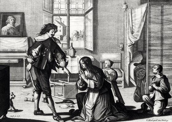 The Husband Who Beats His Wife, engraved by Le Blond