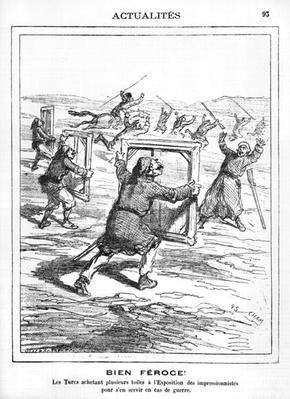 'Ferocious!' The Turks buying several works at the Impressionist Exhibition to be used in case of war, caricature from 'Le Charivari', 28th April 1877