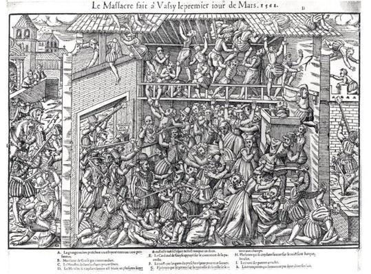The Massacre of the Protestant Population by the Troops of the Duc de Guise at Wassy-sur-Blaise, 1st March 1562, engraved by Jacques Tortorel