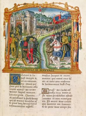 Ms 18 f.92r Siege of Beauvais by Charles le Temeraire, Duke of Burgundy, 27th June 1472, from the Memoirs of Philippe of Commines