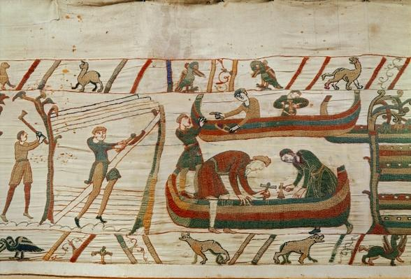 Building ships under the orders of Duke William, detail from the Bayeux Tapestry, before 1082