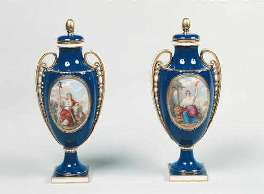 Pair of Sevres vases decorated with allegorical figures of Justice and the Republic