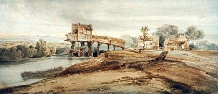 The Watermill above the Bridge at Charenton, after a painting by Thomas Girtin