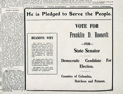 Franklin D. Roosevelt Campaign Ad for State Senator | Ken Burns: The Roosevelts