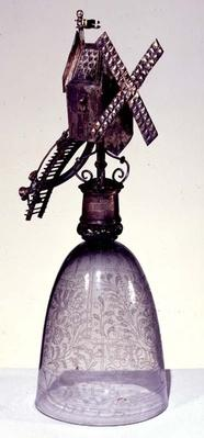 Drinking glass with metal foot in shape of a windmill, engraved with diamond point, 16th century