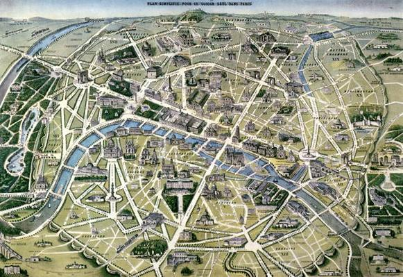 Map of Paris during the period of the 'Grands Travaux' by Baron Georges Haussmann