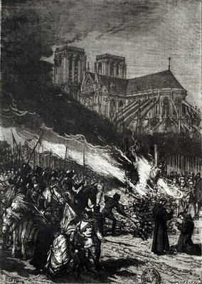 Burning of the Templars, illustration from 'L'Histoire de France' by Jules Michelet