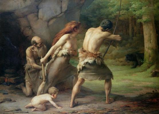 Prehistoric Man Hunting Bears, 1832