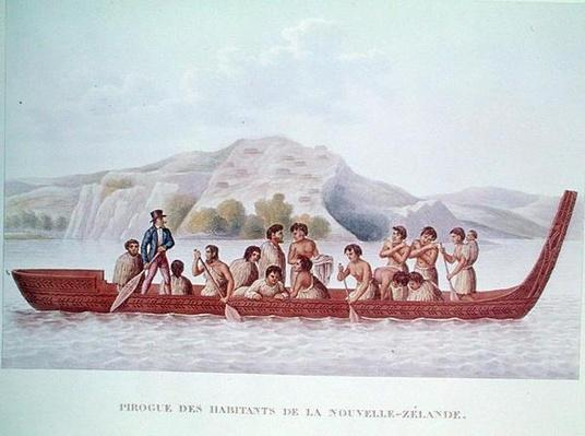 Dugout canoe piloted by natives of New Zealand, illustration from 'Voyage Around the World in the Corvette La Coquille' by Louis Isidore Duperry