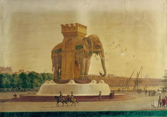 View of the Elephant Fountain at the Place de la Bastille, c.1805-1810