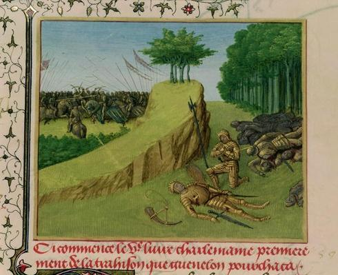 Ms Fr 6465 f.113 The Emperor Charlemagne Finds Roland's Corpse after the Battle of Roncevaux, from 'Les Grandes Chroniques de France', c.1460