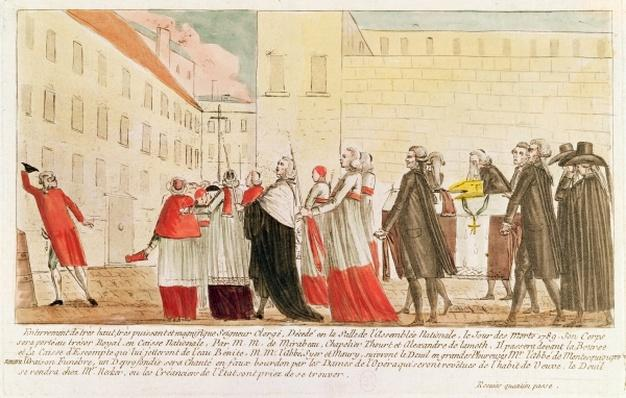 Caricature of the burial of the clergy following the nationalization of the Church property, 1789