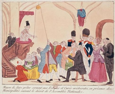 Caricature of the way to make aristocratic bishops and priests swear the oath for the Civil Constitution on the Church, late 18th century
