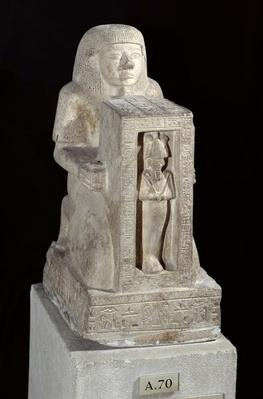 Naophorous statue of the royal scribe, Seti, with Osiris in the naos, New Kingdom, c.1279-1213 BC