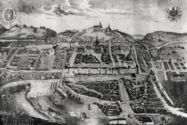 View of the chateau and town of Joinville, from a painting of 1639