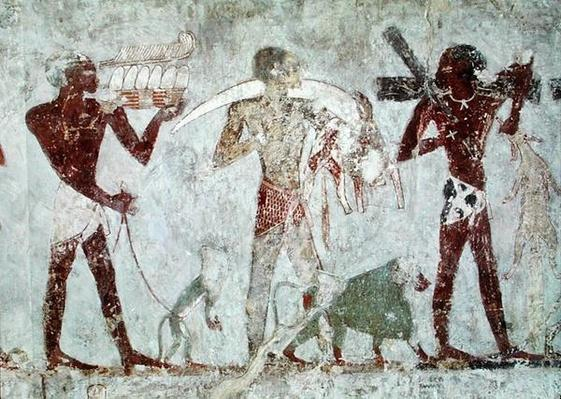 Kushites carrying tributes of gold, ivory and animal skins, from the Tomb of Rekhmire, vizier of Tuthmosis III and Amenhotep II, New Kingdom