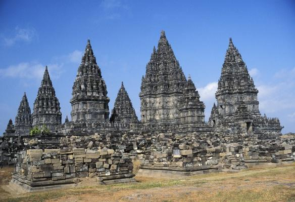 Indonesia, Java, Prambanan, overview of temple ruins | Monuments and Buildings