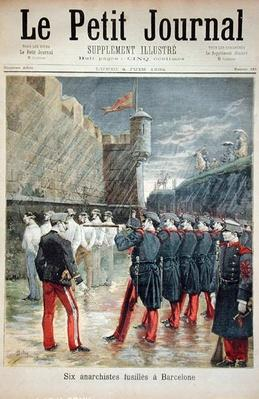 Six anarchists being executed in Barcelona, front cover of 'Le Petit Journal', 4th June 1894