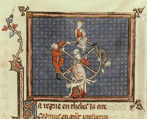 Ms 1044 Fol.74 The Wheel of Fortune, from Ovide Moralise written by Chretien Legouais