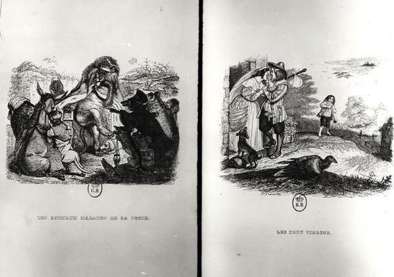 Animals with the Plague and The Two Pigeons, illustrations from the Fables of La Fontaine