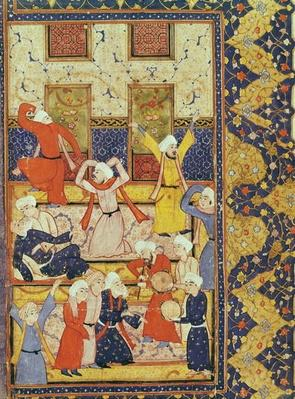 Fol.5r Initiation dance, from a book of poems by Hafiz Shirazi