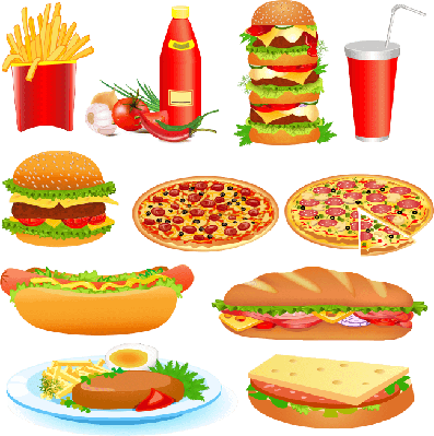 set of fast food and ketchup   Health and Nutrition