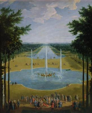 View of the Bassin d'Apollon in the gardens of Versailles, 1713