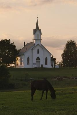 Amish Church at Sunset | World Relgions: Christianity