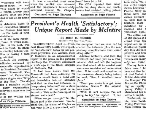 Newspaper Article on the Health of President Franklin D. Roosevelt, 1944| Ken Burns: The Roosevelts