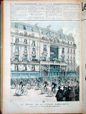 The start of the Paris-Brest bicycle race in front of the offices of 'Le Petit Journal', illustration from the magazine of the same name, 15th September 1891