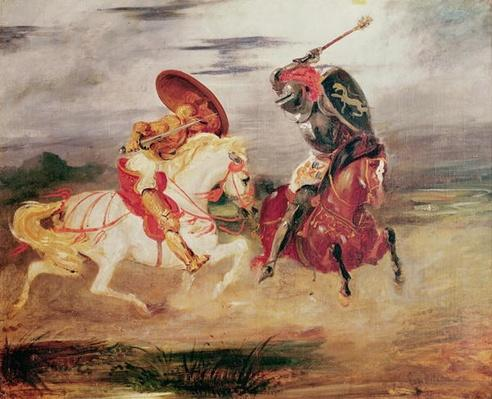 Two Knights Fighting in a Landscape, c.1824