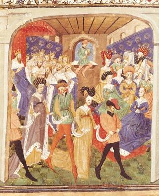 Ms 527 fol.1r Court Ball, from the 'Roman du Saint Graal'