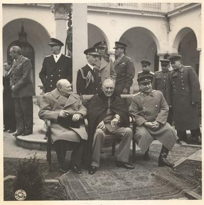 Winston Churchill, Franklin D. Roosevelt, and Joseph Stalin in Yalta, 1945