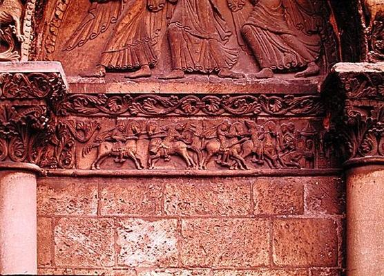Lintel detail on the west facade depicting scenes inspired by 'La Chanson de Roland', c.1125-35