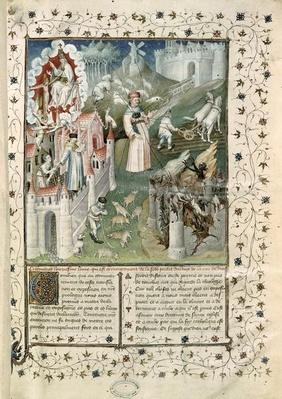 Ms 55 t.2 fol.3 The City of God, the City of Caen and the City of Vices, from 'La Cite de Dieu' by St. Augustine of Hippo