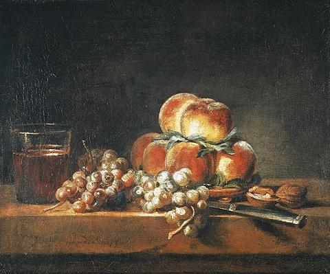 Still Life of Peaches, Nuts, Grapes and a Glass of Wine, 1758