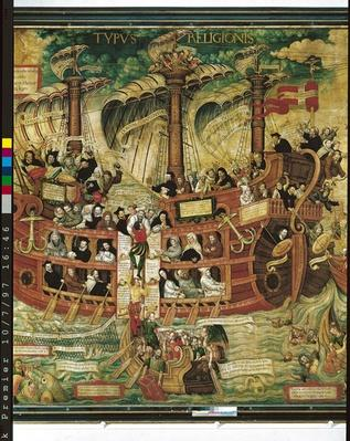 'Typus Religionis', Allegory of the Society of Jesus, detail of the central part depicting a three-masted ship carrying the founders of the Orders